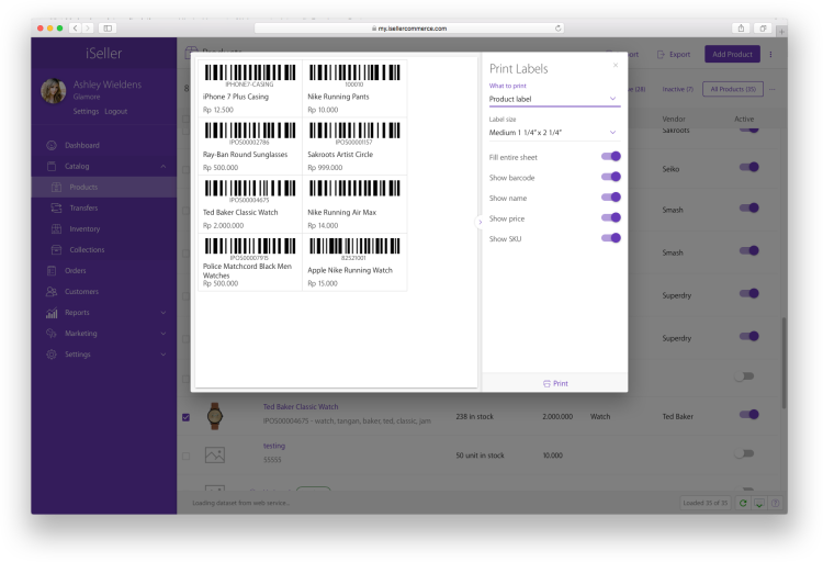 2. print barcode